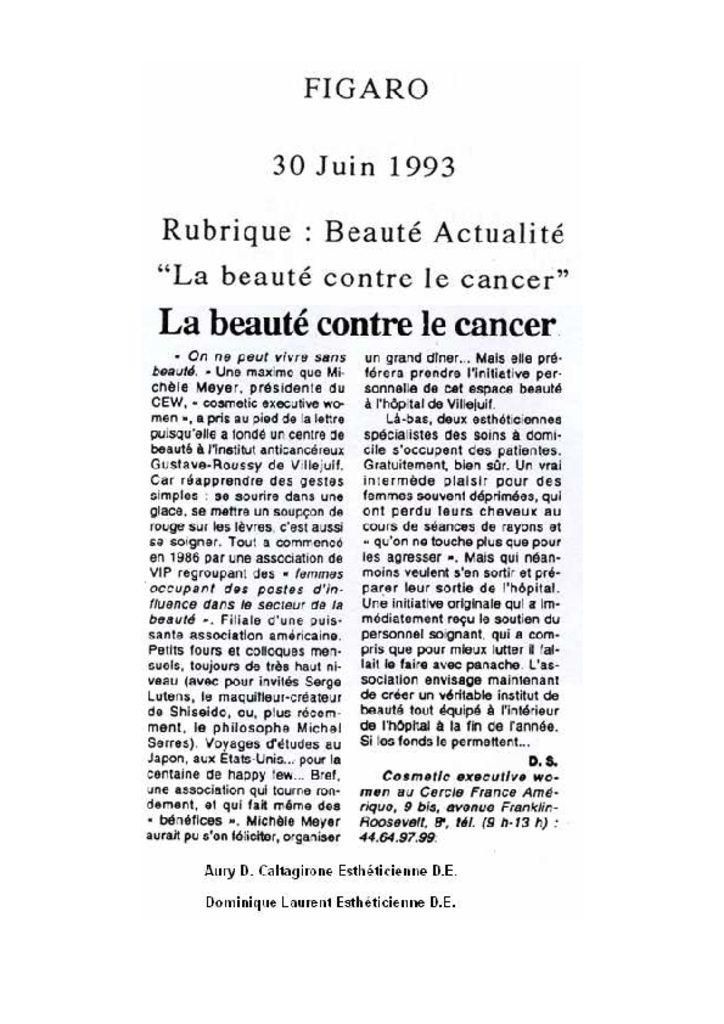 Figaro - La beauté contre le cancer
