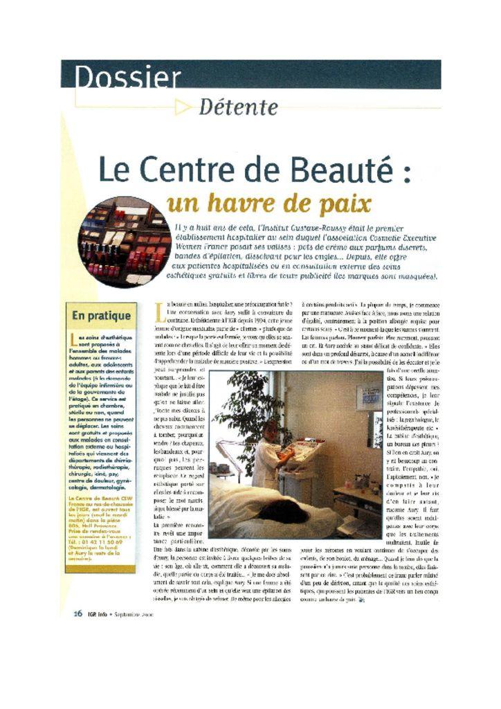 IGR info - Le Centre de Beauté : un havre de paix