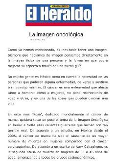 2014 - El Heraldo Aguascalientes - La imagen oncológica
